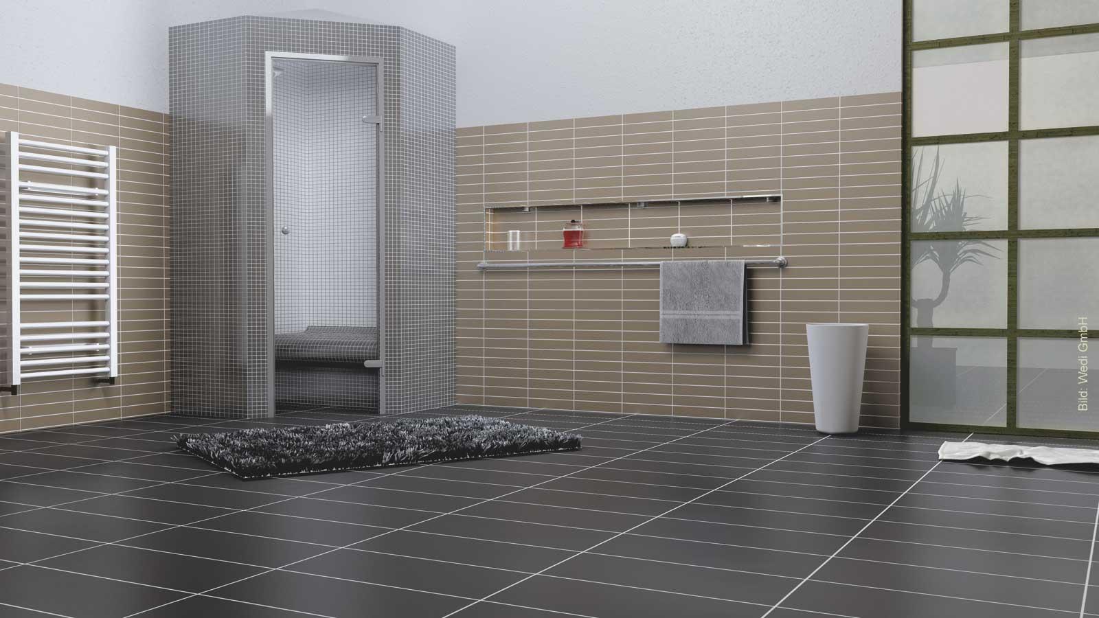 Fliesen beidinger moderne baustoffe von wedi for Fliesen badezimmer schwarz